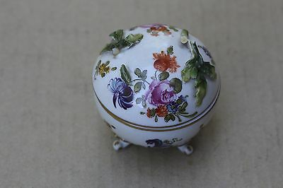 Antique hand painted floral porcelain box with broken lid, signed, Germany?