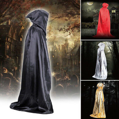 2017 Satin Long Vampire Hooded Cloak Witch Robe Cape Halloween Cosplay Costume
