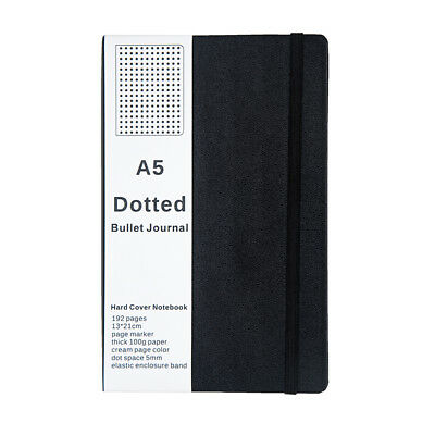 Bullet Journal Notebook Medium A5 Hardcover, 192 Pages Dot Grid Journal, Black