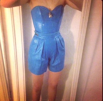 MICHAEL HOBAN North Beach Leather Two-Piece Sky Blue Shorts/ Bustier Top