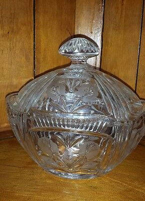 Vintage Clear Pressed Glass Lead Crystal Flower pattern cut candy dish