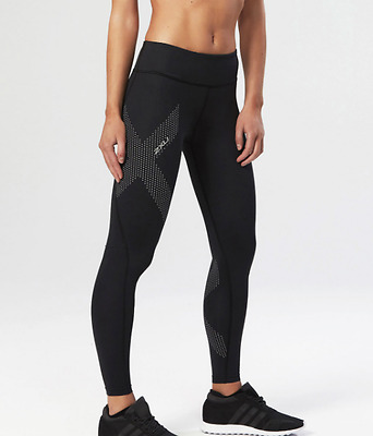 2XU Women's Mid-rise Compression Tight - LARGE - Black/Silver Reflective