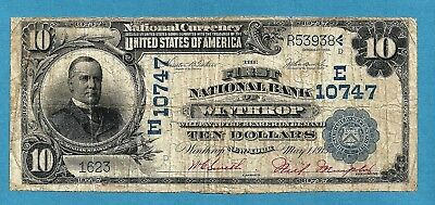 1902 $10 Charter 10747-E First National Bank of Winthrop New York 9 Known