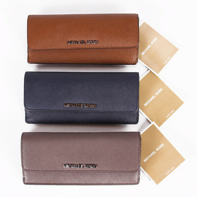 NWT Michael Kors Jet Set Travel Flat Leather Wallet In Various Colors