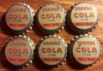 6 old MIL-KAY ORANGE COLA soda bottle caps cork unused *