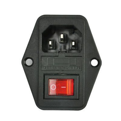 Pro 10A 250V 3 Pin IEC320 C14 AC Inlet Male Plug Power Socket With Fuse Switch