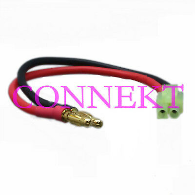 Mini Tamiya Male to 4mm Bullet Banana plug 14AWG 15CM cable For Airsoft Battery