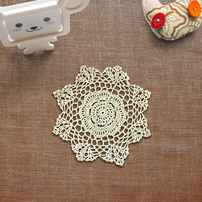 Set of 4 Vintage Hand Crochet Round Lace Doilies Handmade Cotton Placemats 8inch
