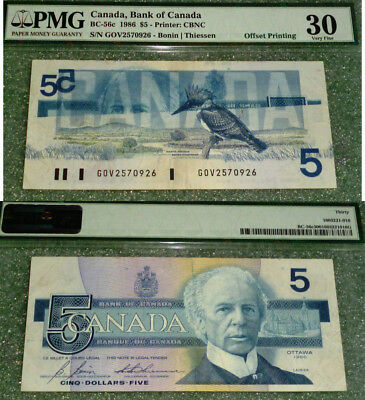 Bank Of Canada - 1986   $5  - SCARCE OFFSET PRINTING ERROR - PMG Certified