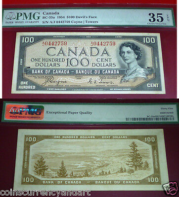 WORLD FAMOUS - DEVILS FACE $100 1954 Bank of Canada -PMG 35