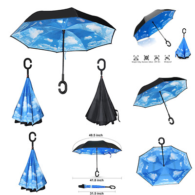 Inverted Umbrella Handle Double Layer Windproof Folding Upside Down Reverse Lot