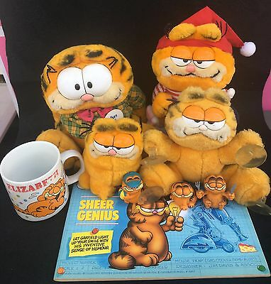 Bulk Collection of Vintage Garfield Figurines Mug Cartoon Book Plush Toy 1980's
