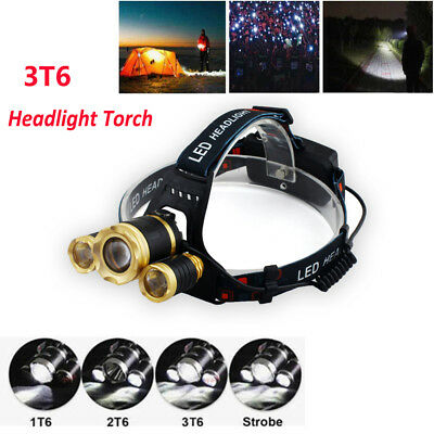 2018 RECHARGEABLE 35000LM 3T6 XML LED HEADLAMP HEADLIGHT TORCH FLASHLIGHT Hiking