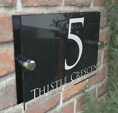 Contemporary HOUSE SIGN / PLAQUE / DOOR / NUMBER / GLASS EFFECT ACRYLIC 28W