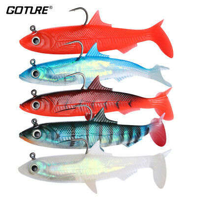 Goture 5 pcs Soft Silicone Tail Shad Bait Lead Head Fishing Lures Swimbaits