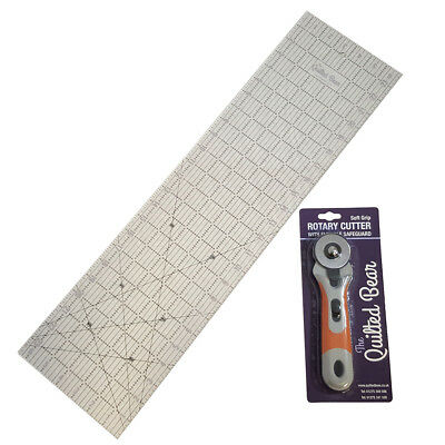 """Quilted Bear 6.5"""" x 24"""" Patchwork/Quilting Ruler + 45mm Soft-Grip Rotary Cutter"""