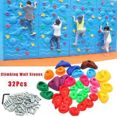 32Pcs Children's Climbing Wall Stones Holds Hand Feet Starter Rock Holder+Screws