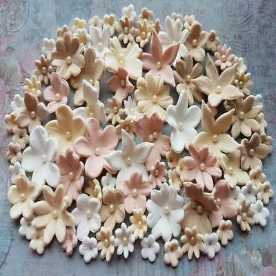 60 Edible Sugar Paste Flowers Cake Cupcake Toppers Decorations Beige