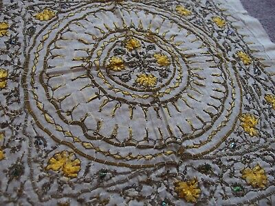 original Victorian antique hand embroidered bridal handkerchief abalone shell
