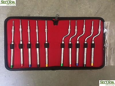 Osteotomes for Sinus Lift SET OF 10 Offset Convex Tip Dental implant Instruments