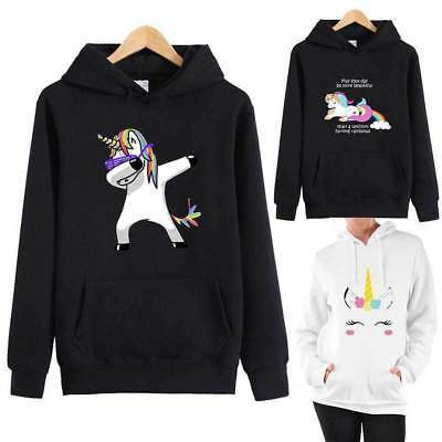 Womens Hoodie Unicorn Horse Blouse Ladies Sweatshirt Sweater Hooded Pullover Top