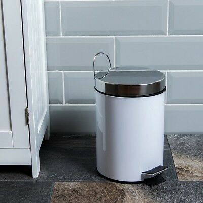 Home Discount® Bathroom Bin 3 Litre Stainless Steel Bathroom Waste Pedal Bin In
