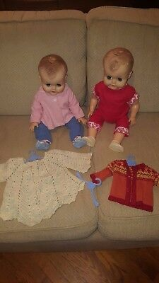 twin vintage vinyl baby dolls adorable ACE AE drink wet NR