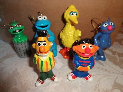 Lot Of 6 Vintage Ceramic Muppets Sesame Street Christmas Ornaments - 1977
