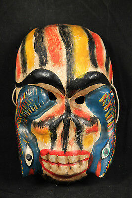 Mexican Wood Hanging Skeleton/Snakes Mask Hand Made/Carved/Painted Vintage