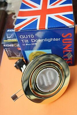 6 x Sunlite Tilt GU10 240v Enclosed Downlight Polished Brass +7w low energy bulb