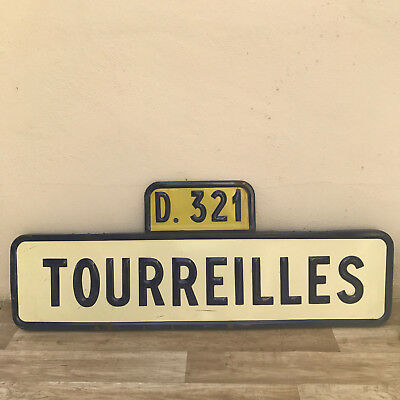 Vintage Authentic French Road Sign town TOURREILLES France enameled 13111712