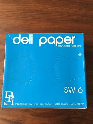 """6""""x10.75"""" Interfolded Dry Waxed Deli Paper Pop-Up Food Sandwich Sheets 500 Pack"""
