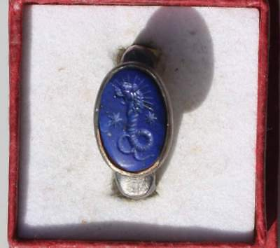 Solid Roman Style Silver Signet Intaglio Seal Ring