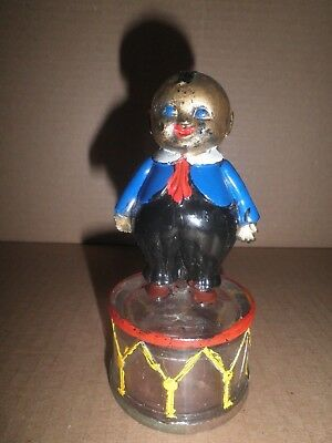 Neat old original glass Fat Boy on Deum Candy Container - Still Bank c.1915
