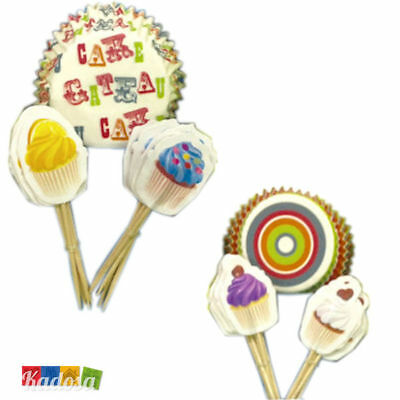 Set 24 Pirottini Cupcake con Topper Abbinato in Scatola Regalo CUPCAKE Muffin