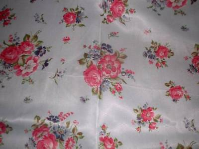 """Vintage French silk floral fabric Robins egg blue & pink flowers 6 ydsx20"""" NOS"""