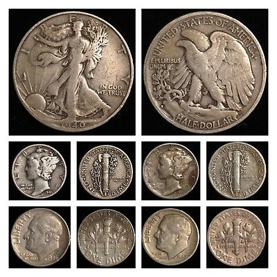 US UNITED STATES 1940S Walking Liberty Mercury Roosevelt .900 Silver Coin Lot !!