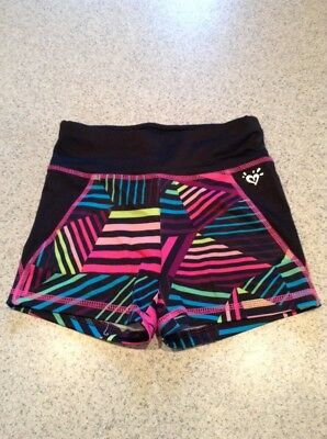 justice active wear girls dance shorts pink striped 8