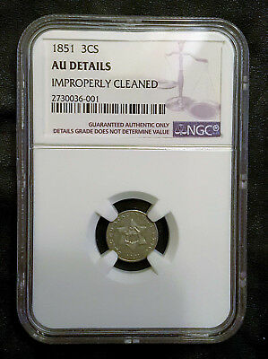 1851 Three Cent SILVER 3CS - NGC - Improperly Cleaned