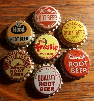 7 different ROOT BEER soda bottle caps unused cork