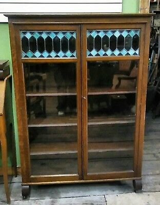 Larkin Arts and Crafts Oak Book Case w/ Leaded Glass