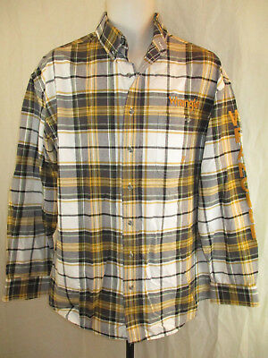 TWENTY 20X Wrangler Lg Yellow Gray Plaid Button Shirt Gold Emboidered Spellout