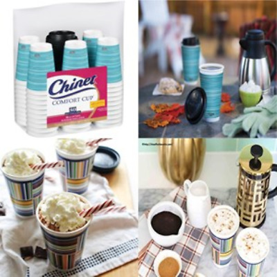 Stylish Paper Coffee Cups 16 oz Disposable Hot Cup and Lids Home Office 50 Pack