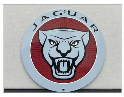 Vintage Reproduction Jaguar British Racing Advertising Red  Garage Sign