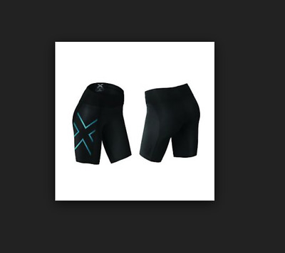2XU Women's Mid-Rise Compression Short - SMALL - Black/Blue