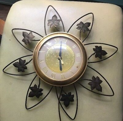 Vintage United Clock Company Clock Brass And Metal Starbust Leaves Design