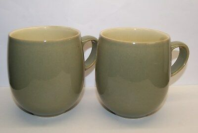 Two Denby Fire Green Large Mugs - 10 cm