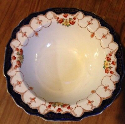 Myott Son England ROSEMARY ROUND SQUARE  VEGETABLE BOWL ORANGE BLUE FLORAL