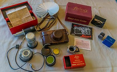 Leica IIIc Complete Package, 3 Lenses, Filter set, Lense shade box, Viewfinder