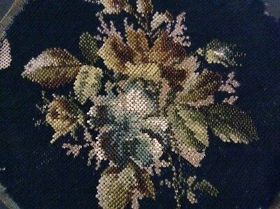 Antique Victorian Beadwork and Woolwork Circular Floral Panel